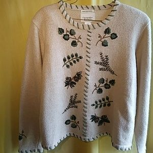 Vtg Christopher & Banks embroidery sweater,sz M